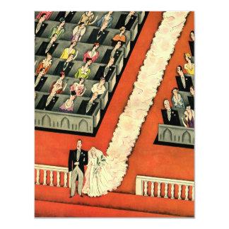 Vintage Art Deco Wedding, Bride Groom Newlyweds 4.25x5.5 Paper Invitation Card