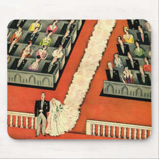 Vintage Art Deco Wedding, Bride Groom Newlyweds Mouse Pad