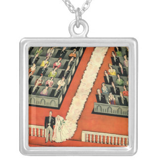 Vintage Art Deco Wedding, Bride Groom Newlyweds Pendants