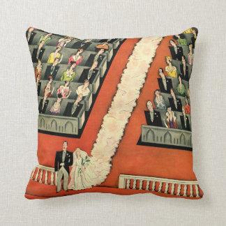 Vintage Art Deco Wedding, Bride Groom Newlyweds Pillows