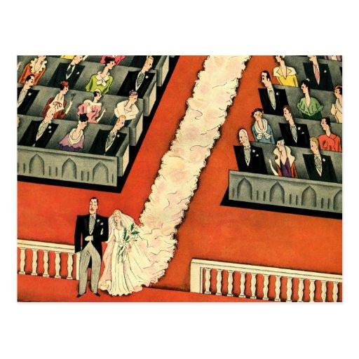 Vintage Art Deco Wedding, Bride Groom Newlyweds Postcards