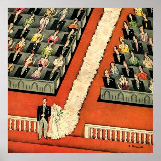 Vintage Art Deco Wedding, Bride Groom Newlyweds Poster