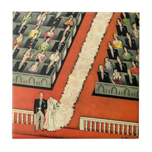 Vintage Art Deco Wedding, Bride Groom Newlyweds Small Square Tile