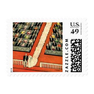 Vintage Art Deco Wedding, Bride Groom Newlyweds Stamps