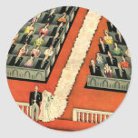 Vintage Art Deco Wedding, Bride Groom Newlyweds Classic Round Sticker