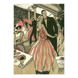 Vintage Art Deco Wedding First Dance Bridal Shower Announcements