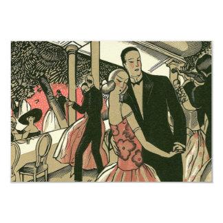 Vintage Art Deco Wedding, Newlyweds First Dance 3.5x5 Paper Invitation Card