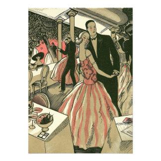 Vintage Art Deco Wedding, Newlyweds First Dance Custom Invitation