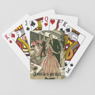 Vintage Art Deco Wedding, Newlyweds First Dance Playing Cards