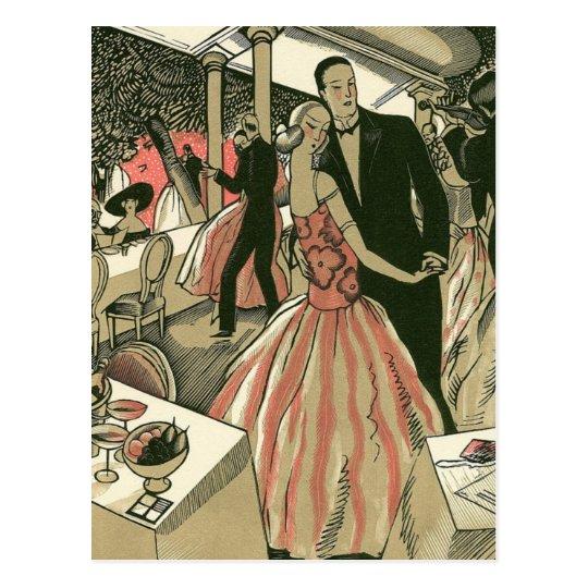 Vintage Art Deco Wedding, Newlyweds First Dance Postcard