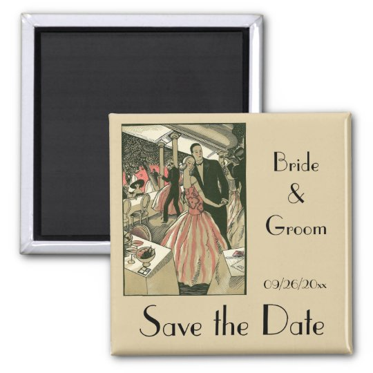 Vintage Art Deco Wedding, Newlyweds Save the Date Magnet