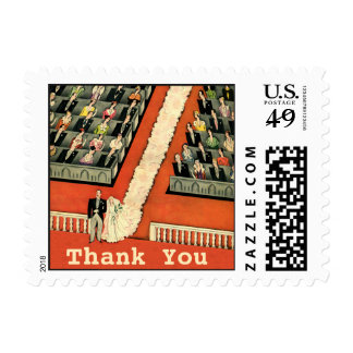 Vintage Art Deco Wedding Thank You Postage