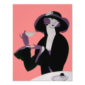 Vintage Art Deco Woman, Afternoon Tea and Cupcake 4.25x5.5 Paper Invitation Card