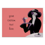 Vintage Art Deco Woman, Afternoon Tea and Cupcake Greeting Card