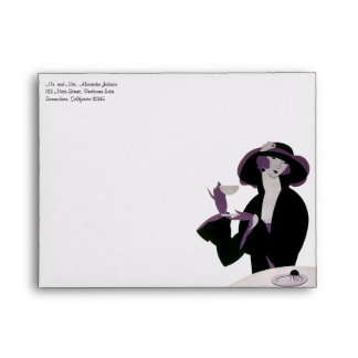 Vintage Art Deco Woman, Afternoon Tea and Cupcake Envelope