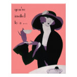 Vintage Art Deco Woman, Afternoon Tea and Cupcake Personalized Invitations