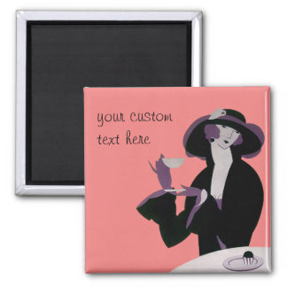 Vintage Art Deco Woman, Afternoon Tea and Cupcake Magnet