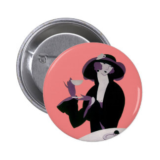 Vintage Art Deco Woman, Afternoon Tea and Cupcake Pinback Button