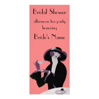Vintage Art Deco Woman, Afternoon Tea and Cupcake Rack Card