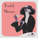 Vintage Art Deco Woman, Afternoon Tea and Cupcake Stickers