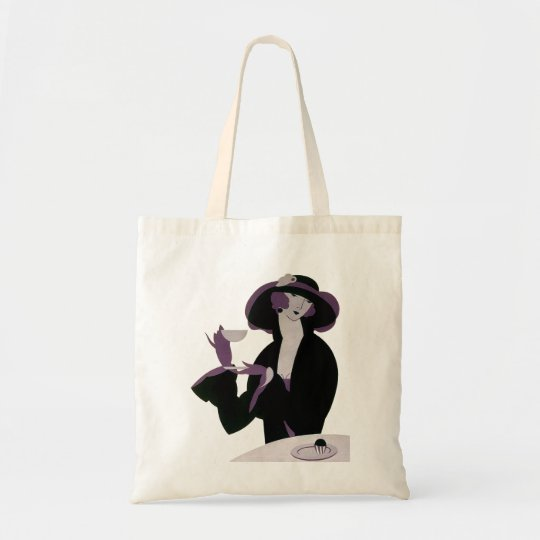 Vintage Art Deco Woman, Afternoon Tea and Cupcake Tote Bag