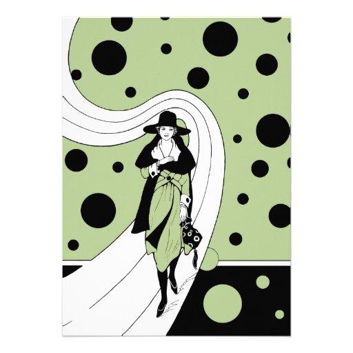 Vintage Art Deco Woman Polka Dots Bridal Shower Invite