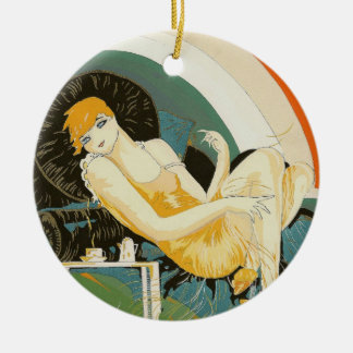 Vintage Art Deco Woman Reclining on Couch, Chompre Ceramic Ornament