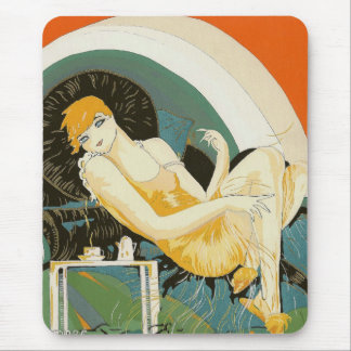 Vintage Art Deco Woman Reclining on Couch, Chompre Mouse Pad