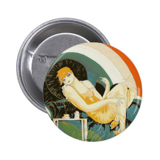 Vintage Art Deco Woman Reclining on Couch, Chompre Pinback Button