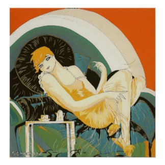 Vintage Art Deco Woman Reclining on Couch, Chompre Poster