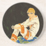 Vintage Art Deco Woman, Smoking by S. Chompre Coasters