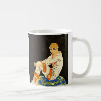 Vintage Art Deco Woman, Smoking by S. Chompre Classic White Coffee Mug