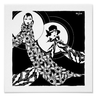 Vintage Art Deco Women s Scarves Ad Print