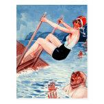 Vintage Art Deco Women Swimmer and Old Man Art Postcards
