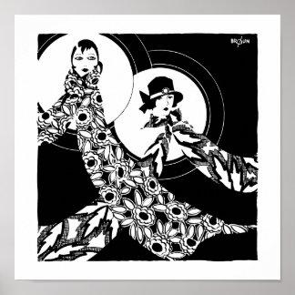 Vintage Art Deco Women's Scarves Ad Poster