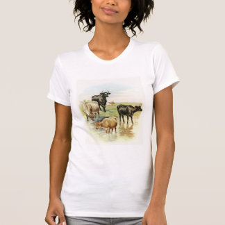 Vintage Art Farm Animals Cows T-Shirt