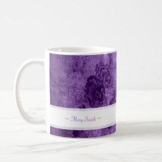 Vintage Art Floral Motive Custom Name Purple Coffee Mug