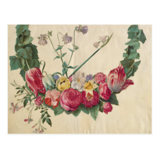 Vintage Art Floral Wreath Postcard