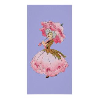 Vintage art flower fairy Peony note card