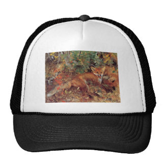 Vintage Art Foxes Playing Hats