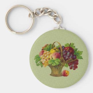 Vintage Art Fruit Basket Keychain