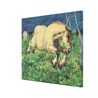 Vintage Art, Galloping Horse by Giovanni Segantini Canvas Print