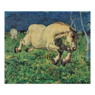 Vintage Art, Galloping Horse by Giovanni Segantini Poster