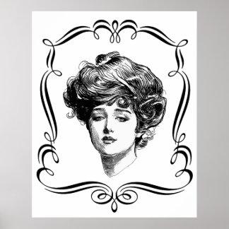 Vintage Art Gibson Girl Poster Print