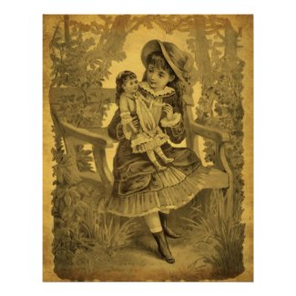 Vintage Art Girl With Doll Aged Poster