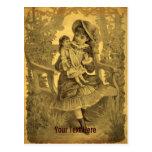 Vintage Art Girl With Doll Customizable Postcard