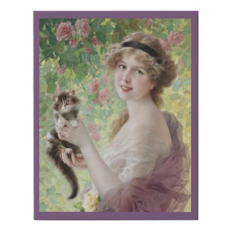 Vintage Art, Girl with Kitten Faux Canvas Print