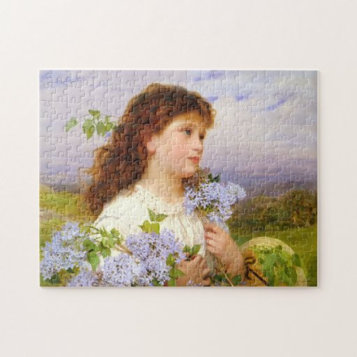 Vintage Art Girl with Lilacs 1875 Puzzle