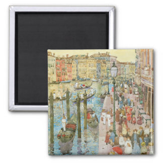 Vintage Art, Grand Canal, Venice by Prendergast 2 Inch Square Magnet