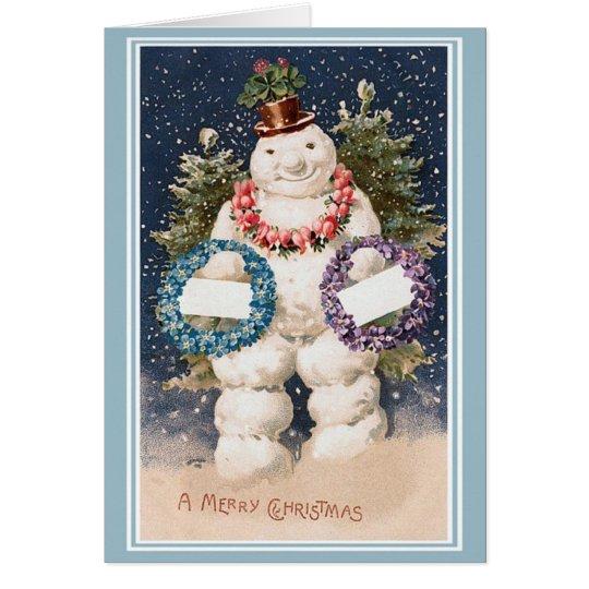 Vintage Art - Happy Snowman Christmas Card